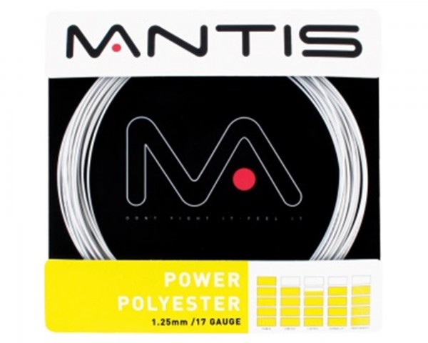 Mantis Tennis String Power Polyester 17G 12m Set silver - MATSS003